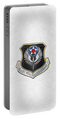 Air Force Special Operations Command -  A F S O C  Shield Over White Leather Portable Battery Charger by Serge Averbukh