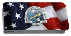 U. S.  Air Force Combat Control Teams - Combat Controller C C T Badge Over American Flag Portable Battery Charger by Serge Averbukh