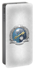 U. S.  Air Force Combat Control Teams - Combat Controller C C T Badge Over White Leather Portable Battery Charger by Serge Averbukh