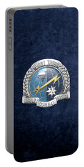 U. S.  Air Force Combat Control Teams - Combat Controller C C T Badge Over Blue Velvet Portable Battery Charger by Serge Averbukh