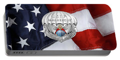 U. S.  Air Force Pararescuemen - P J Badge Over American Flag Portable Battery Charger by Serge Averbukh