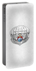 U. S.  Air Force Pararescuemen - P J Badge Over White Leather Portable Battery Charger by Serge Averbukh