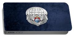 U. S.  Air Force Pararescuemen - P J Badge Over Blue Velvet Portable Battery Charger by Serge Averbukh