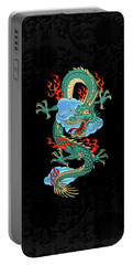 The Great Dragon Spirits - Turquoise Dragon On Black Silk Portable Battery Charger by Serge Averbukh