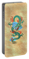 The Great Dragon Spirits - Turquoise Dragon On Rice Paper Portable Battery Charger by Serge Averbukh
