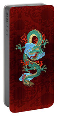 The Great Dragon Spirits - Turquoise Dragon On Red Silk Portable Battery Charger by Serge Averbukh