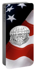 U. S.  Air Force Combat Rescue Officer - C R O Badge Over American Flag Portable Battery Charger by Serge Averbukh