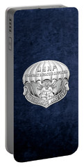 U. S.  Air Force Combat Rescue Officer - C R O Badge Over Blue Velvet Portable Battery Charger by Serge Averbukh