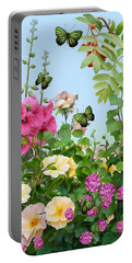 Portable Battery Charger featuring the painting Wild Garden by Ivana Westin
