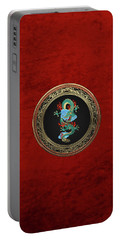 Treasure Trove - Turquoise Dragon Over Red Velvet Portable Battery Charger by Serge Averbukh