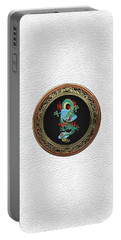 Treasure Trove - Turquoise Dragon Over White Leather Portable Battery Charger by Serge Averbukh