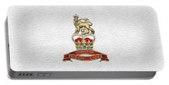 Canadian Provost Corps - C Pro C Badge Over White Leather Portable Battery Charger by Serge Averbukh