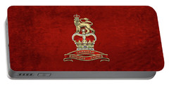 Canadian Provost Corps - C Pro C Badge Over Red Velvet Portable Battery Charger by Serge Averbukh