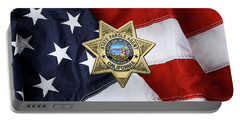 California State Parole Agent Badge Over American Flag Portable Battery Charger by Serge Averbukh