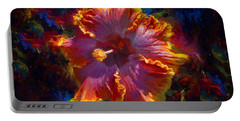 Rainbow Hibiscus Tropical Flower Wall Art Botanical Oil Painting Radiance  Portable Battery Charger