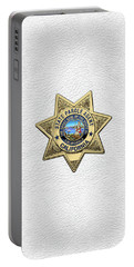 California State Parole Agent Badge Over White Leather Portable Battery Charger by Serge Averbukh