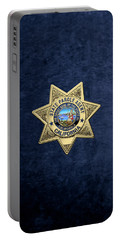 California State Parole Agent Badge Over Blue Velvet Portable Battery Charger by Serge Averbukh