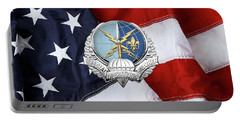 Special Operations Weather Team -  S O W T  Badge Over American Flag Portable Battery Charger by Serge Averbukh