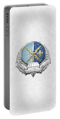 Special Operations Weather Team -  S O W T  Badge Over White Leather Portable Battery Charger by Serge Averbukh
