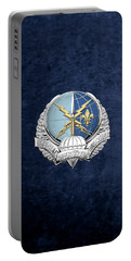 Special Operations Weather Team -  S O W T  Badge Over Blue Velvet Portable Battery Charger by Serge Averbukh