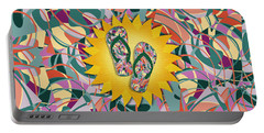 Sunshine And Colorful Abstract Flip-flops  Portable Battery Charger