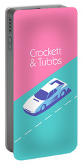 Miami Vice Crockett Tubbs - Magenta Portable Battery Charger