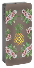 Portable Battery Charger featuring the painting Exotic Hawaiian Flowers And Pineapple by Georgeta Blanaru