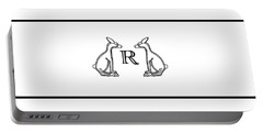 Black White Rabbits Line Portable Battery Charger