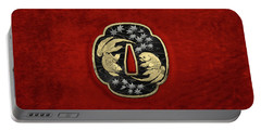 Japanese Katana Tsuba - Twin Gold Fish On Black Steel Over Red Velvet Portable Battery Charger
