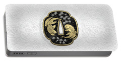 Japanese Katana Tsuba - Twin Gold Fish On Black Steel Over White Leather Portable Battery Charger