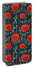 Dark Floral Pattern Of Abstract Red Tulips Portable Battery Charger