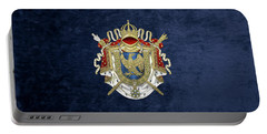 Greater Coat Of Arms Of The First French Empire Over Blue Velvet Portable Battery Charger