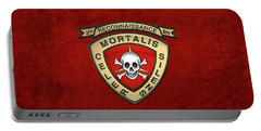 U S M C  3rd Reconnaissance Battalion -  3rd Recon Bn Insignia Over Red Velvet Portable Battery Charger