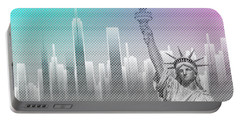 Graphic Art New York Mix No 4 - Funky Cyan And Pink Portable Battery Charger