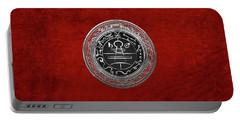 Silver Seal Of Solomon - Lesser Key Of Solomon On Red Velvet  Portable Battery Charger