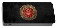 Gold Seal Of Solomon - Lesser Key Of Solomon On Black Velvet  Portable Battery Charger