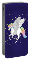 Pretty Rainbow Unicorn Flying Horse Portable Battery Charger