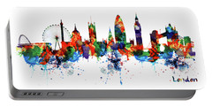 London Watercolor Skyline Silhouette Portable Battery Charger