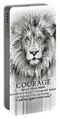 Lion Courage Motivational Quote Watercolor Animal Portable Battery Charger