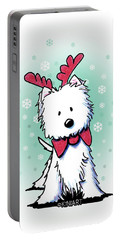 Kiniart Westie Reindeer Portable Battery Charger