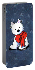 Kiniart Westie In Red Bow Portable Battery Charger