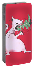 Funny White Cat Eats Christmas Tree Portable Battery Charger
