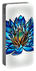 Weird Multi Eyed Blue Water Lily Flower Portable Battery Charger