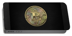 Gold Bitcoin Effigy Over Black Canvas Portable Battery Charger