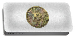 Gold Bitcoin Effigy Over White Leather Portable Battery Charger