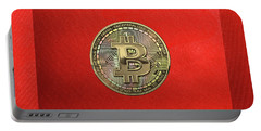 Gold Bitcoin Effigy Over Red Canvas Portable Battery Charger