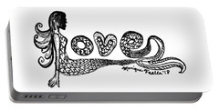 Portable Battery Charger featuring the drawing Mermaid Love by Monique Faella