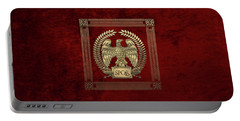 Roman Empire - Gold Imperial Eagle Over Red Velvet Portable Battery Charger