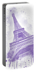 Portable Battery Charger featuring the digital art Watercolor Eiffel Tower - Purple by Melanie Viola