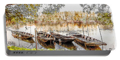 Portable Battery Charger featuring the digital art Rowing Boats And Punts On The Loire France by Anthony Murphy